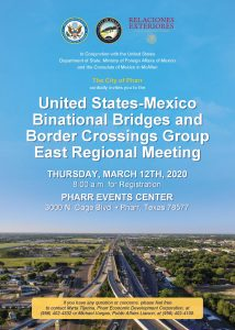 Reunión Regional Este del Grupo Binacional de Puentes y Cruces Internacionales México-Estados Unidos (GBPyC).